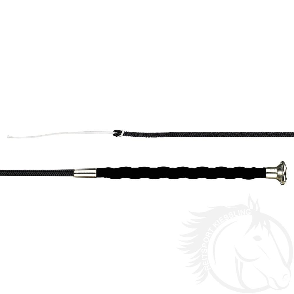 Döbert Dressurgerte in weicher Ausführung, flexibler Spitze und gewelltem Textilvelours-Haftgriff