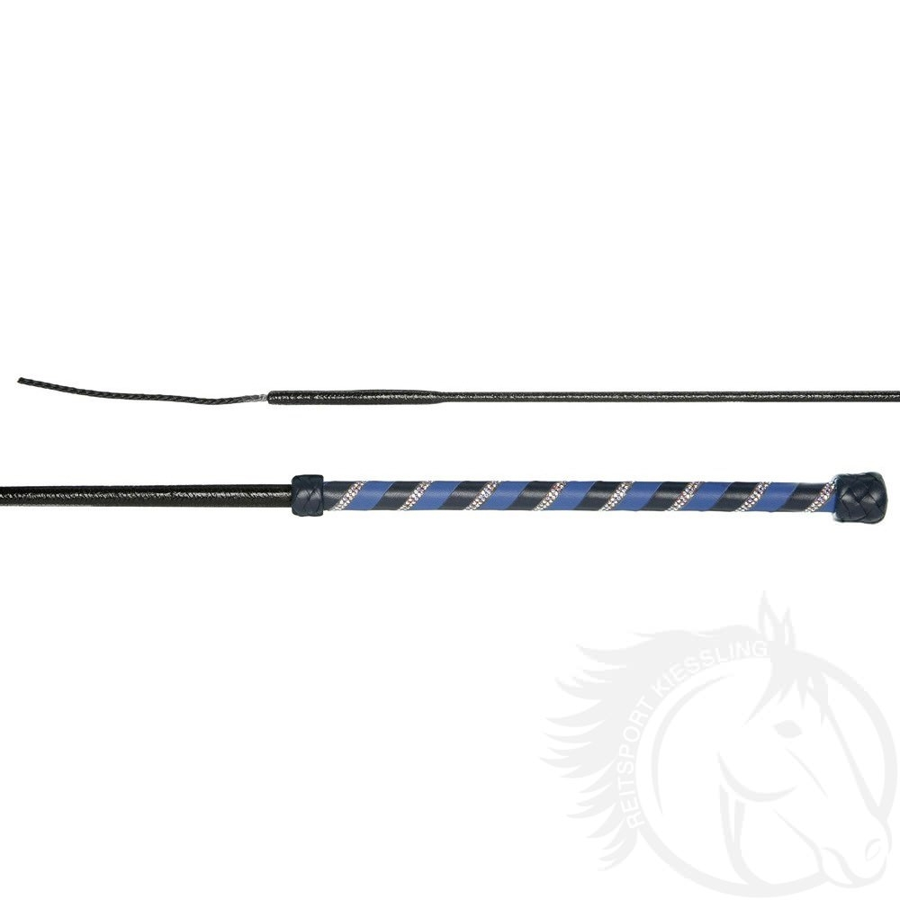 Döbert Dressurgerte Dia P2 mit zweifarbig gewickweltem Ledergriff und zweireihiger Kristalleinlage