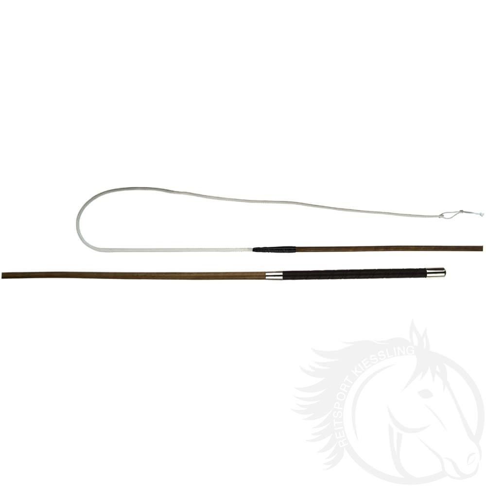 Döbert Bogenpeitsche braun mit glattem Sulgenstock und Ledergriff